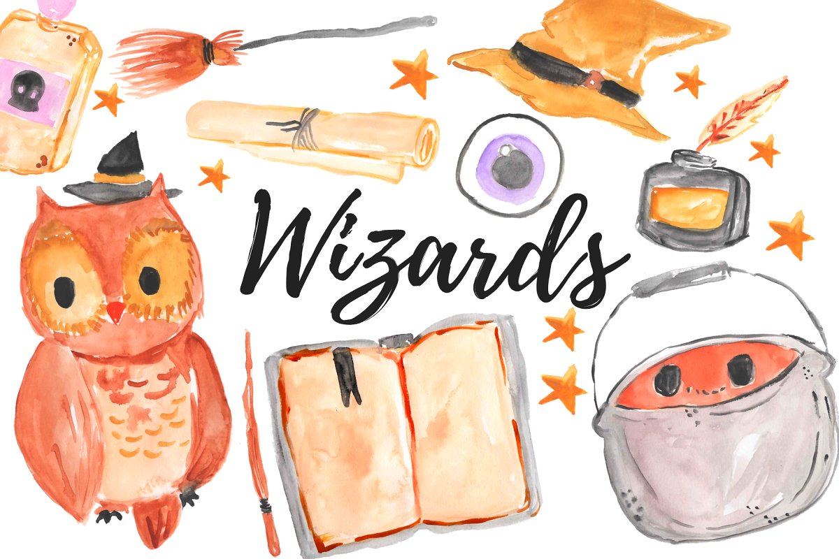 Magic set clipart graphic royalty free library Watercolor Magic Wizard Clipart Set graphic royalty free library