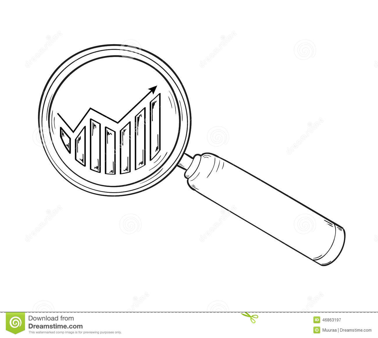 Magnifying clipart with arrow head banner royalty free Magnifying Glass And Chart With Arrow Stock Vector - Image: 46863197 banner royalty free