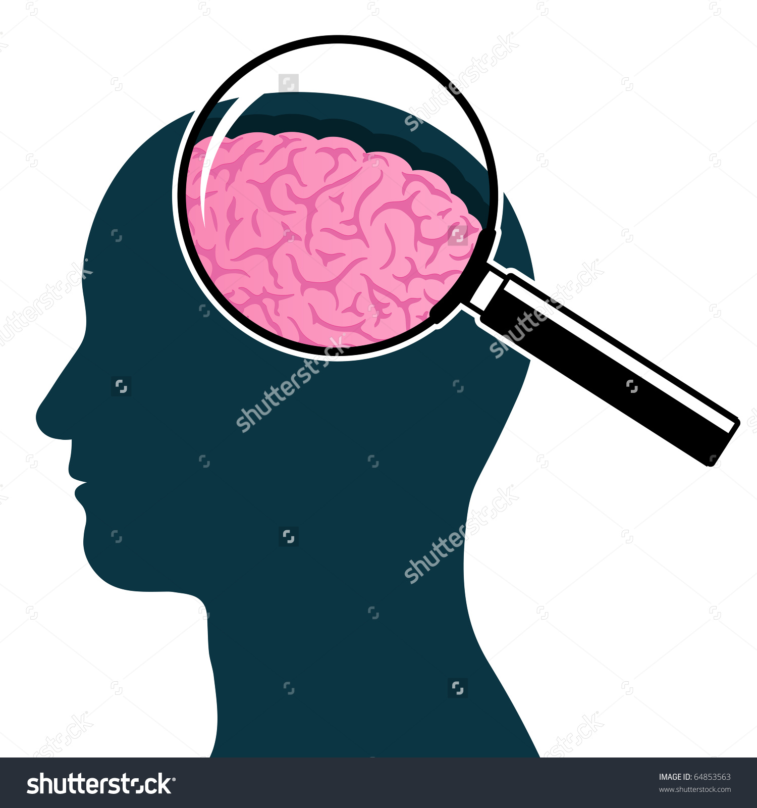Magnifying clipart with arrow head svg transparent download Male Head Silhouette Magnifying Glass Brain Stock Illustration ... svg transparent download