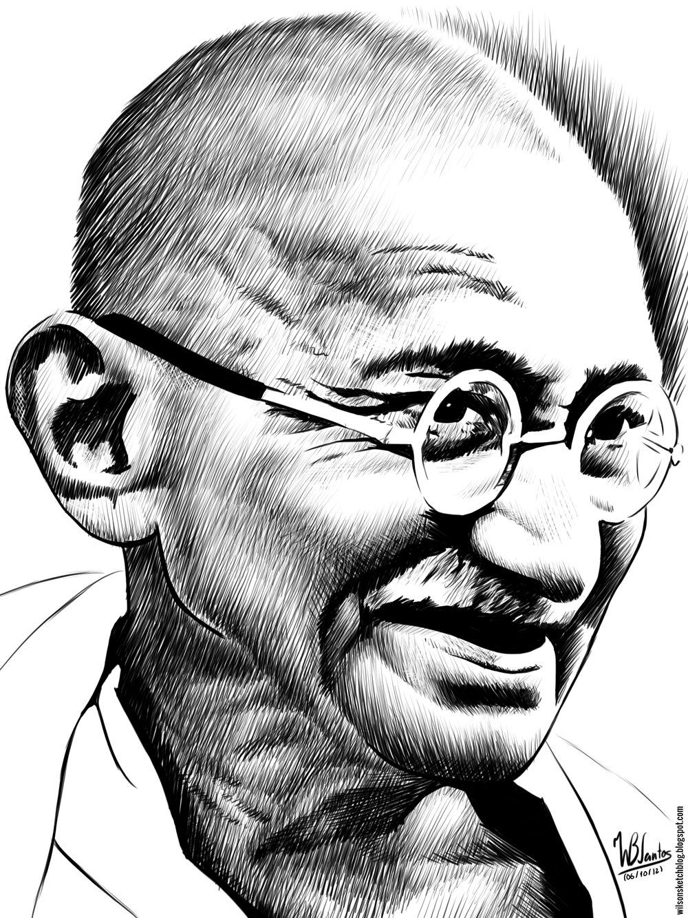 Mahatma gandhi clipart free download Mahatma Gandhi (Ink drawing) free download