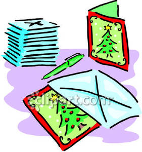 Mailing chrsitmas cards clipart png freeuse library A Stack of Christmas Cards and Envelopes - Royalty Free ... png freeuse library
