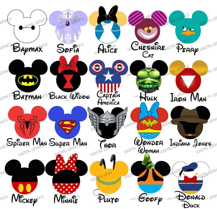 Main character clipart disney svg freeuse CHOOSE YOUR MOUSE HEAD CHARACTERS Disney Family Vacation digital ... svg freeuse