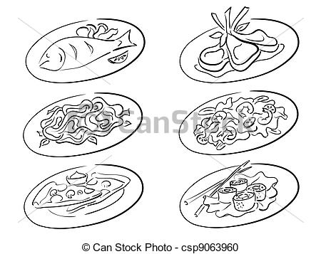 Main course clip art banner freeuse stock Vector Clipart of main courses - restaurant menu items for man ... banner freeuse stock