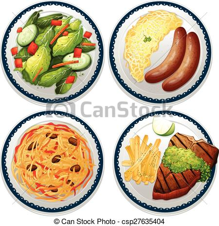 Main course clip art banner transparent download Vector Clipart of Meal - Four dishes of main course csp27635404 ... banner transparent download