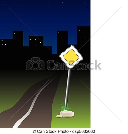 Main road clipart clipart black and white download Vector Clipart of Night trip - The sign of the main road ... clipart black and white download