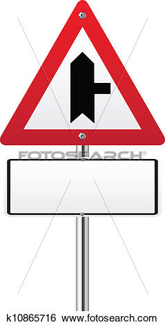 Main road clipart png black and white library Clip Art of Crossroads Warning Main Road sign k10865716 - Search ... png black and white library