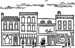 Main street clipart picture black and white stock Snowy Small Town Main Street Clipart - Clipart Kid picture black and white stock