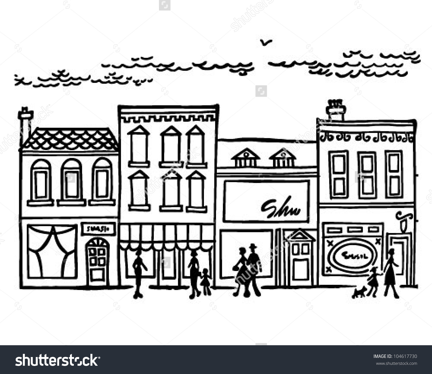 Main street clipart graphic black and white stock Small Town Main Street Retro Clipart Stock Vector 104617730 ... graphic black and white stock