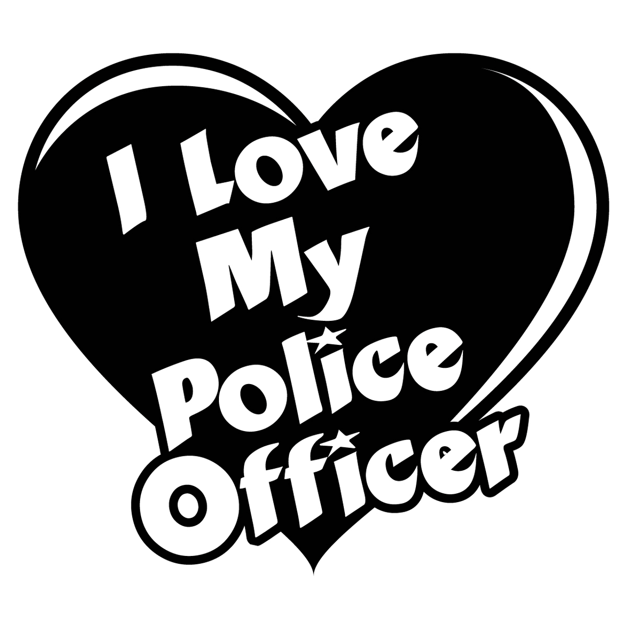 Maine probation parole officer badge clipart black and white image transparent library I Love My Police Officer Heart Decal image transparent library