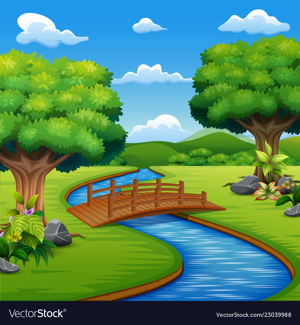 Make pdfs fron large cliparts at original quality adobe bridge banner stock Background scene with bridge across in the park banner stock
