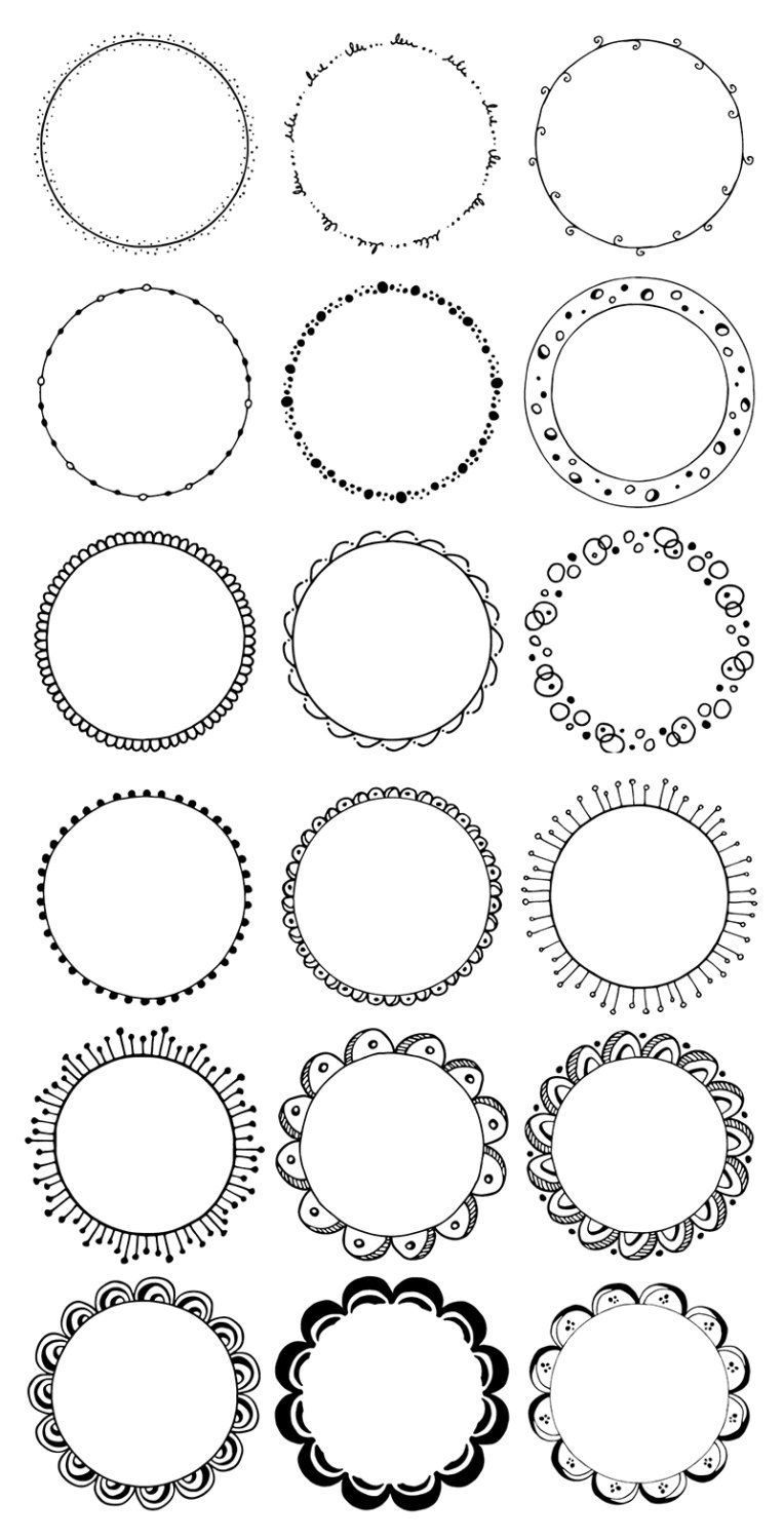 Making a circle clipart black and white svg royalty free library Round frames clipart. Hand drawn circles clipart. Floral ... svg royalty free library