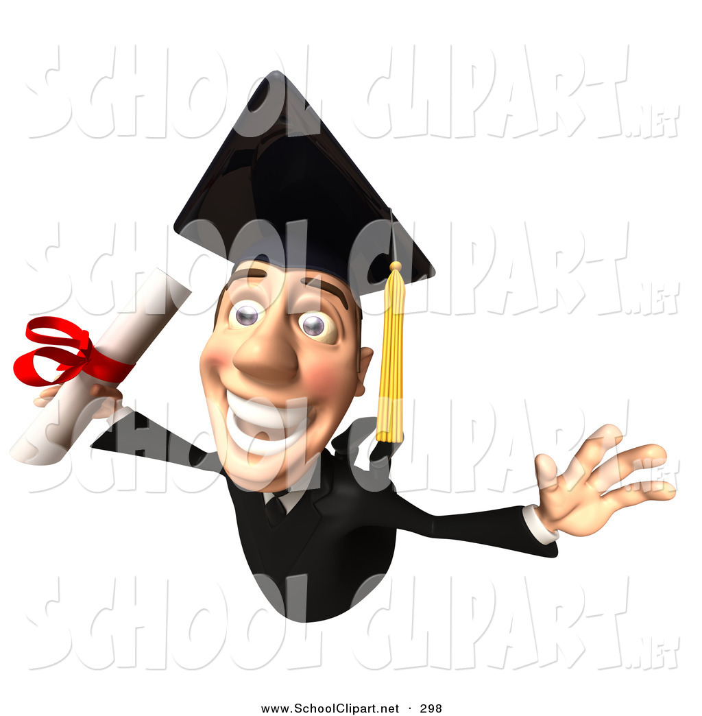 Male graduate clipart black and white stock Clip Art of a 3d Male Graduate Student Character Flying with ... black and white stock