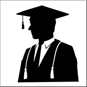 Male graduate clipart image black and white download Clip Art: Graduate Male Silhouette B&W I abcteach.com | abcteach image black and white download