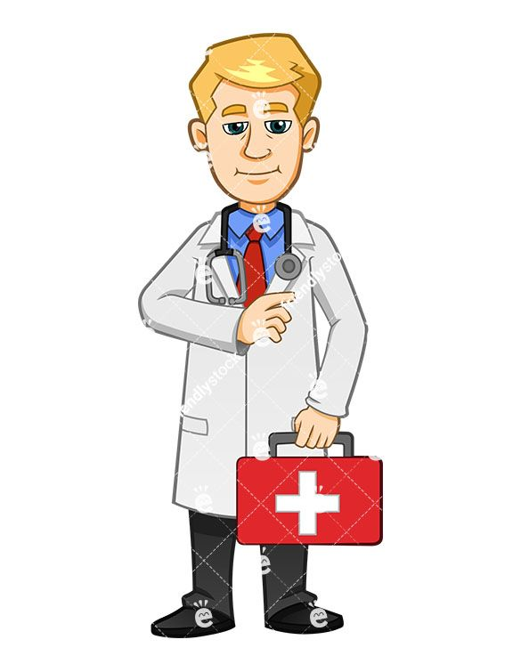 Male nurse clipart free transparent library A Male Nurse Holding A First Aid Kit And Smiling | Medical Clipart ... transparent library