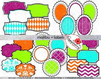 Malibu clipart picture royalty free download Malibu Labels Clipart by Poppydreamz picture royalty free download