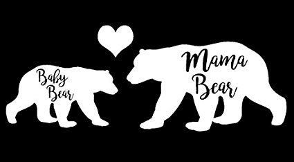 Mama and baby bear clipart svg black and white download Amazon.com: Mama Bear and Baby Bear Decal Vinyl Sticker|Cars Trucks ... svg black and white download