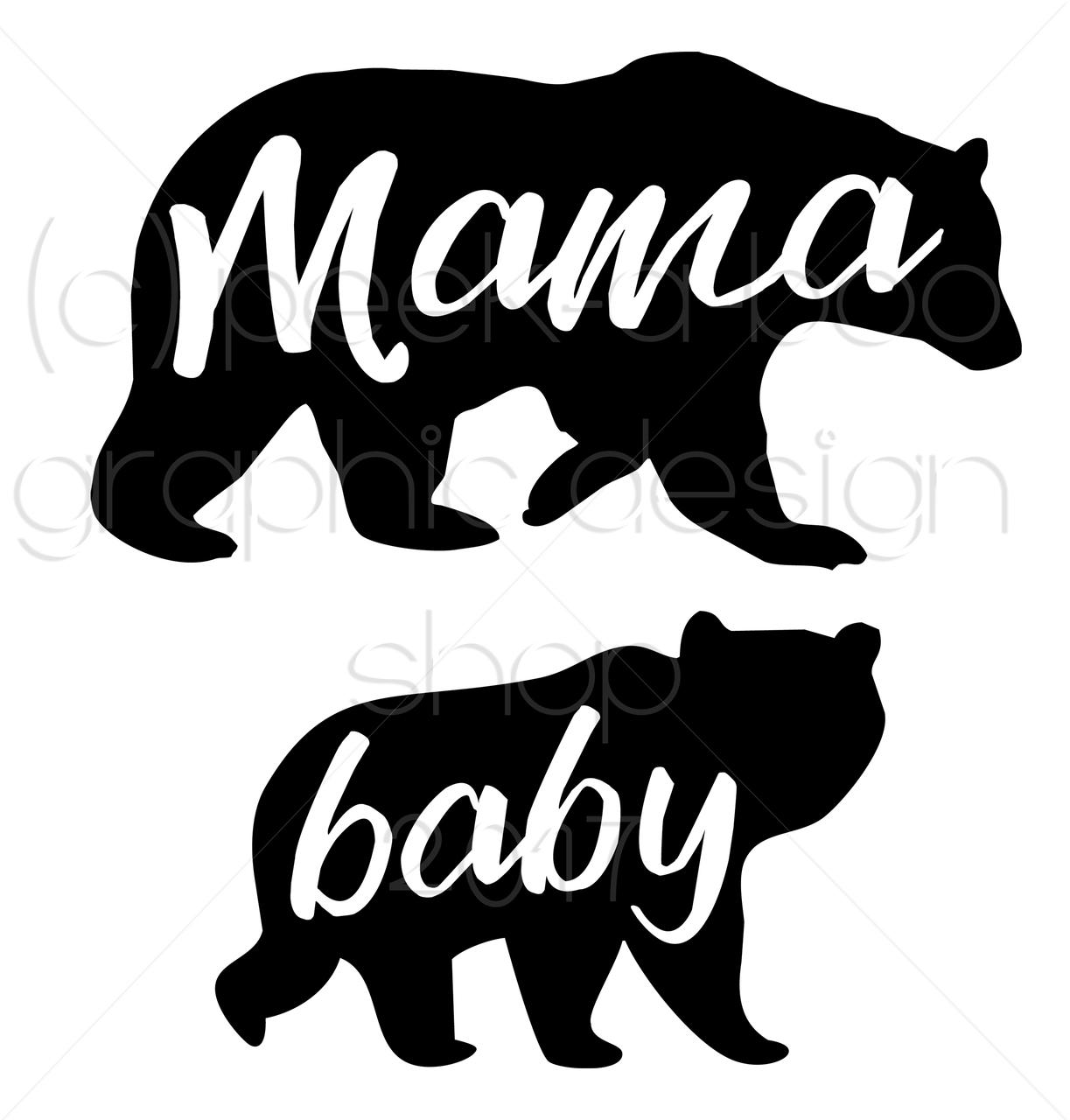 Mama and baby bear clipart clip freeuse stock Mama Bear & Baby Bear SVG Digital Cut File clip freeuse stock