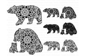 Mama and baby bear clipart graphic transparent Bear Mandala SVG, Mama and Baby Bear Mandala SVG files graphic transparent