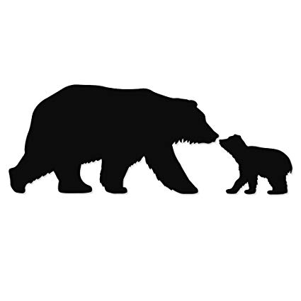 Mama and baby bear clipart graphic download Amazon.com: Overly Attached Decals Mama and Baby Bear Kisses Vinyl ... graphic download