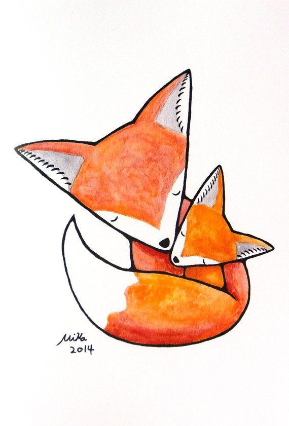 Mama and baby fox clipart line drawing png royalty free Fox Print Fox Nursery Decor Baby Animal Nursery Wall Art Fox ... png royalty free