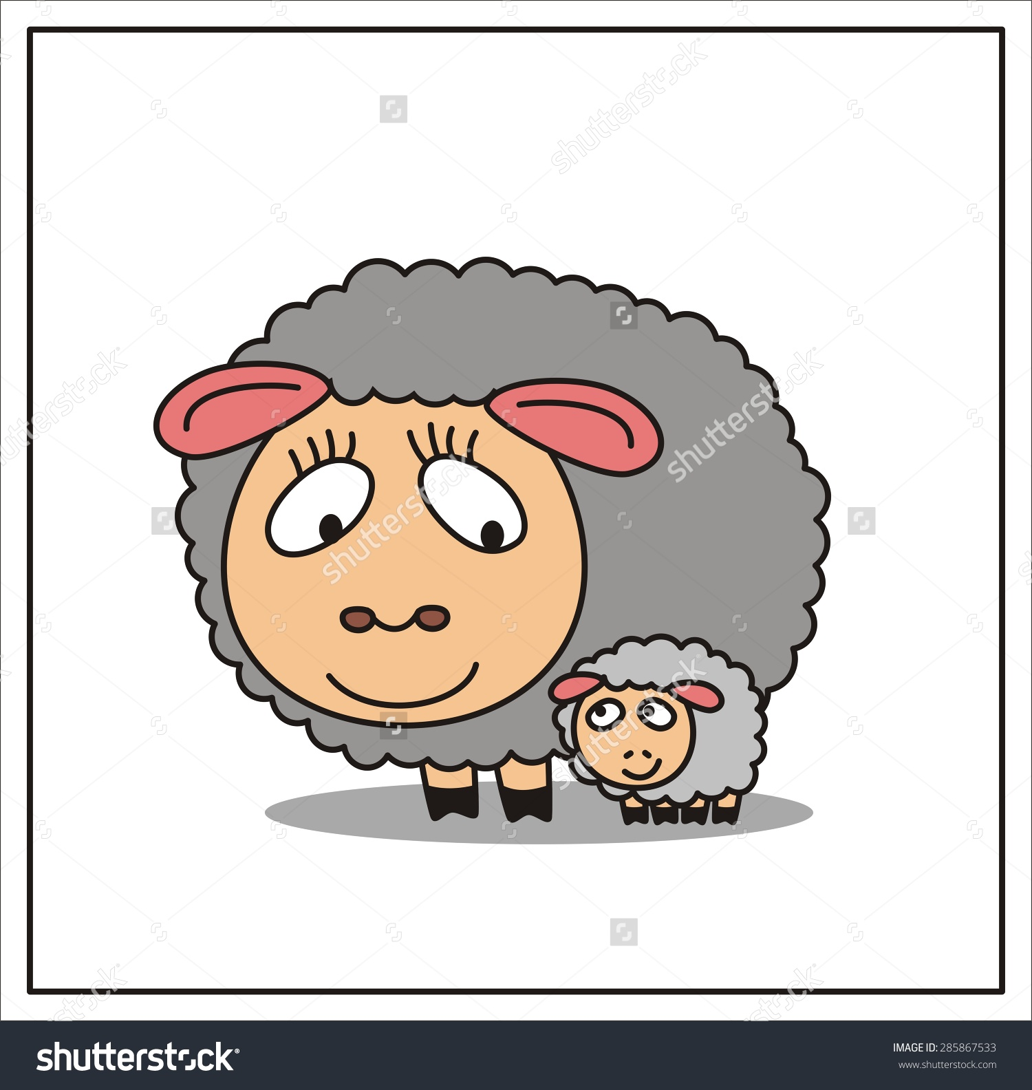 Mama and baby sheep clipart picture Mother Child Cartoon Mama Sheep Little Stock Vector 285867533 ... picture