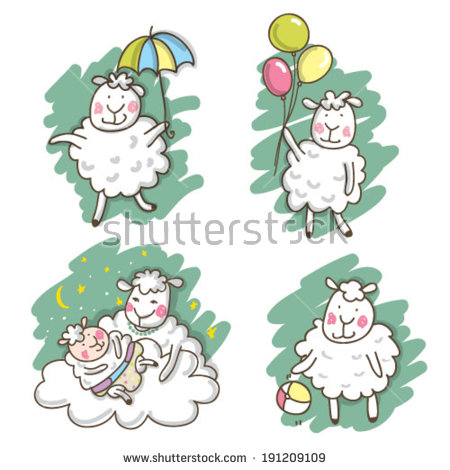 Mama and baby sheep clipart svg transparent Cute Sheep Cute Lamb Happy Animals Stock Vector 191209109 ... svg transparent