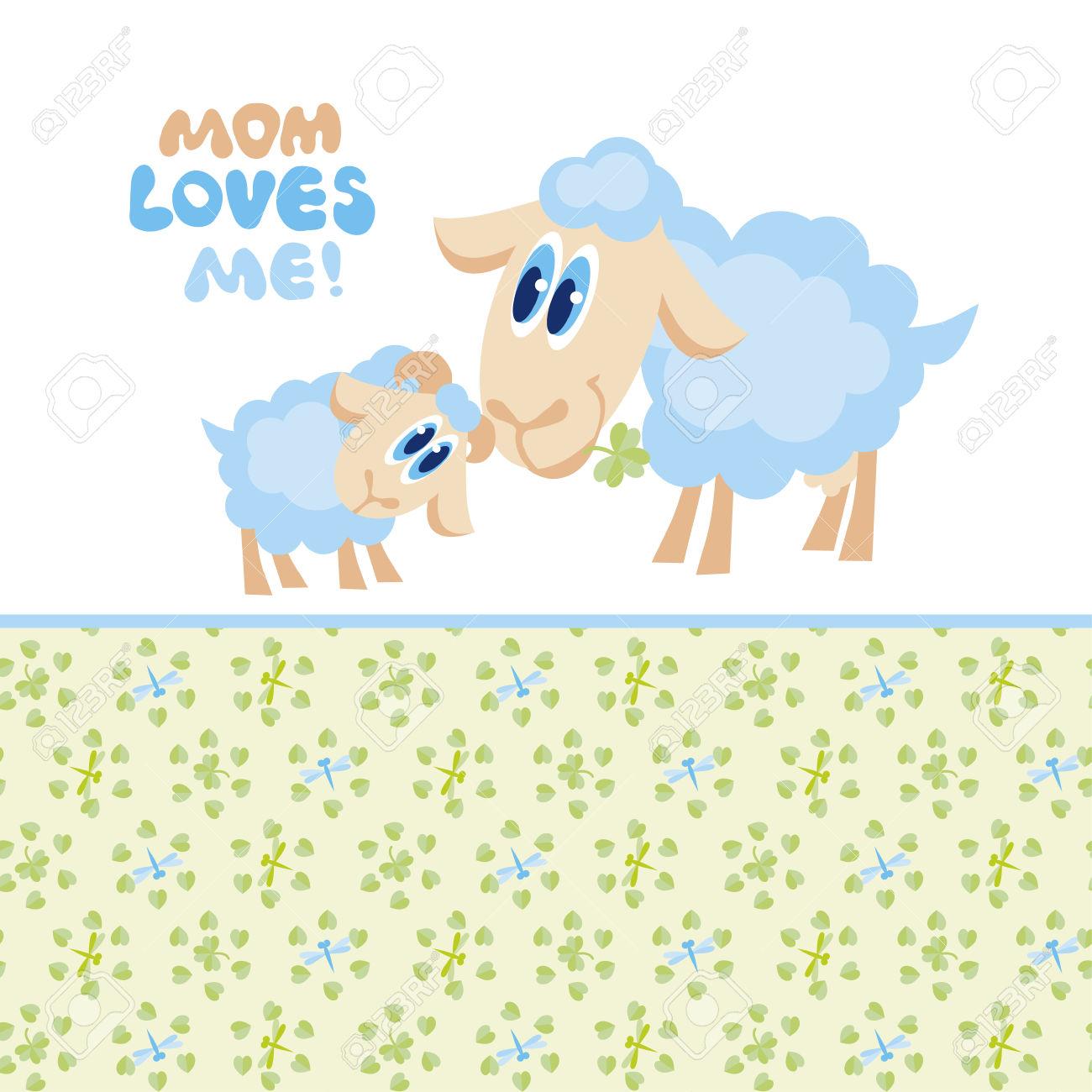 Mama and baby sheep clipart jpg library Illustration Of Sheep Mom And Baby Royalty Free Cliparts, Vectors ... jpg library