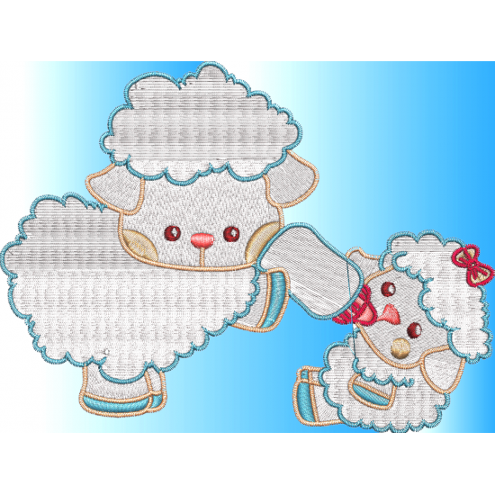 Mama and baby sheep clipart banner freeuse download Pamela's Embroidery - Mom and Baby Sheep banner freeuse download