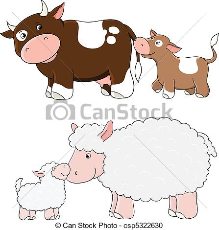 Mama and baby sheep clipart royalty free library Mother and baby animals drawings clipart - ClipartFest royalty free library