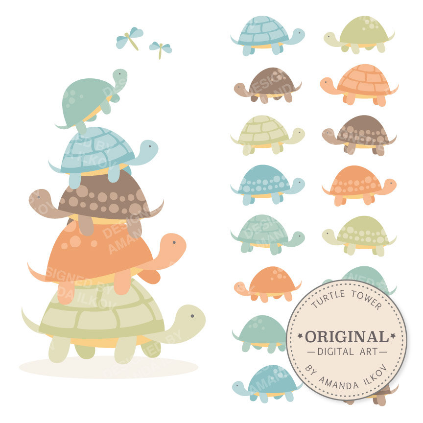 Mama and baby turtle clipart royalty free download Baby turtle | Etsy royalty free download