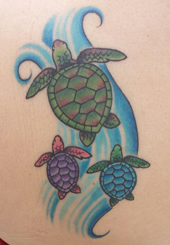 Mama and baby turtle clipart png free Hawaiian sea turtle tattoo mom with babies | My Style | Pinterest ... png free