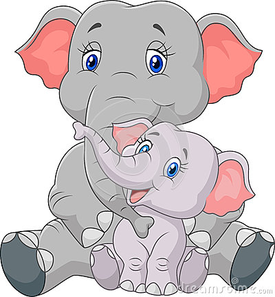 Mama baby animal clipart jpg download Cartoon Mother And Baby Elephant Stock Vector - Image: 45744014 jpg download