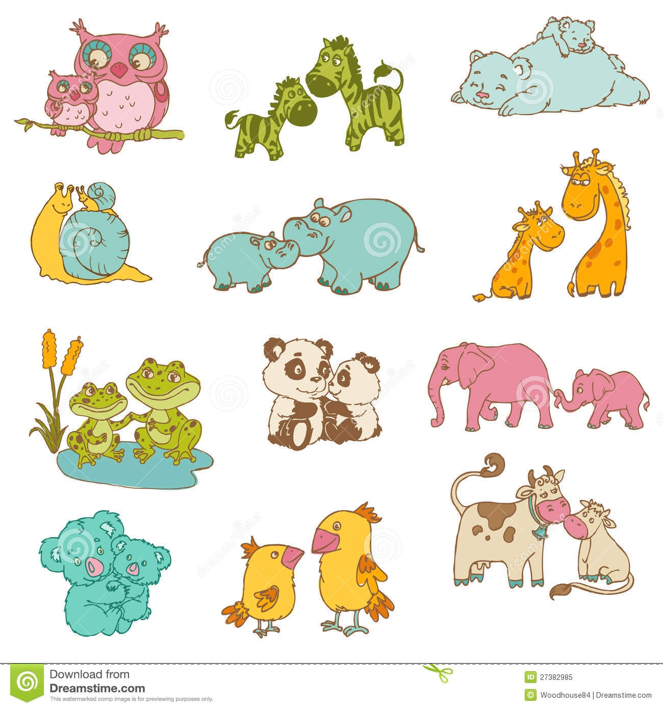 Mama baby animal clipart banner stock Mom and baby animal digital clipart - ClipartFox banner stock
