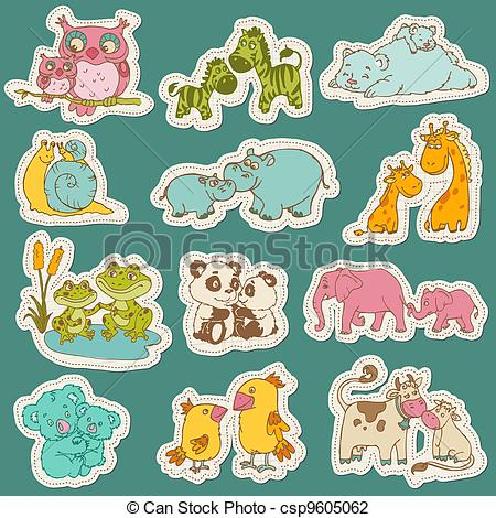 Mama baby animal clipart freeuse download Vector Illustration of Baby and Mommy Animal Set on paper tags ... freeuse download