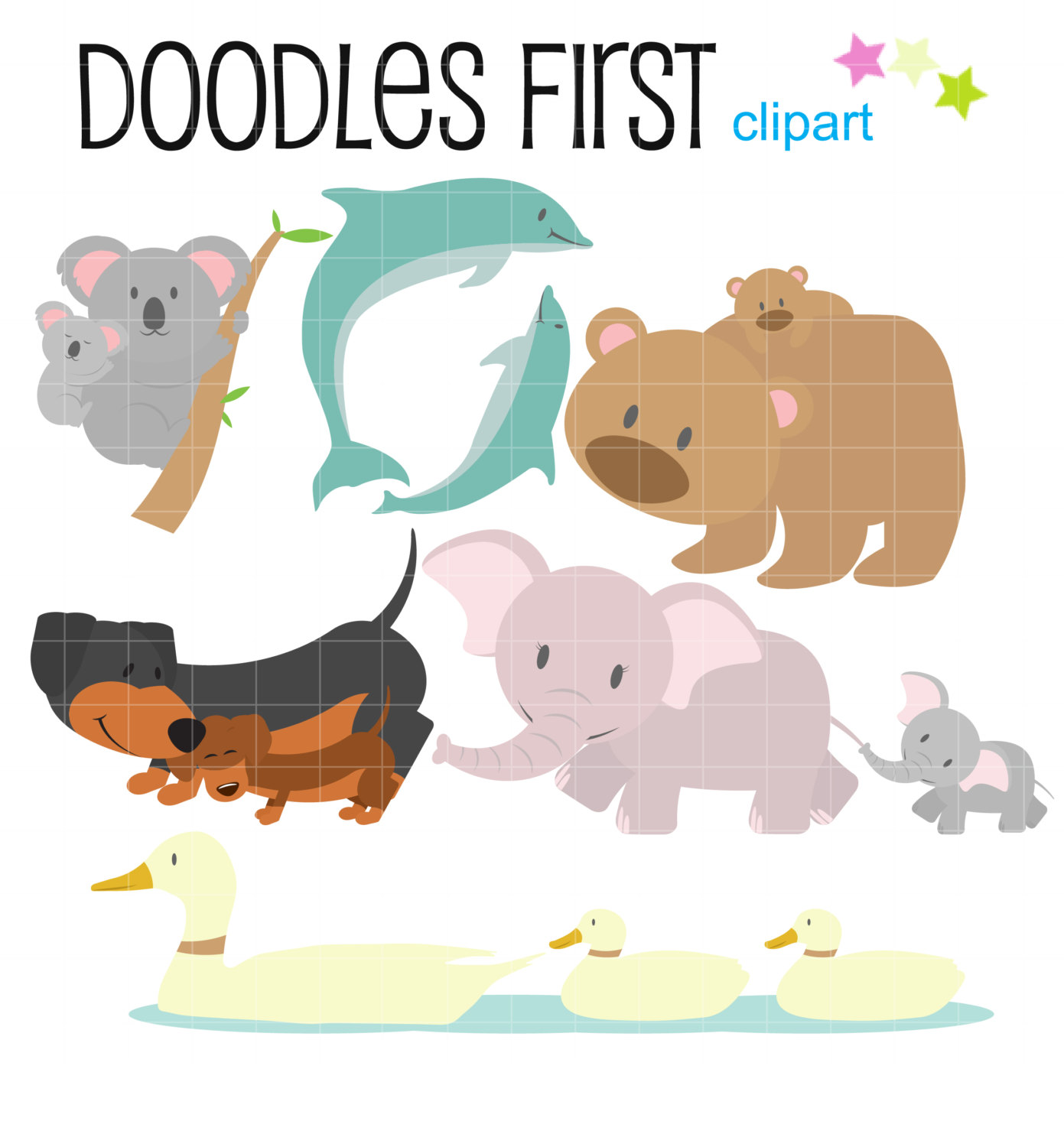 Mama baby animal clipart clip art transparent library Baby animal and mom clipart - ClipartFest clip art transparent library