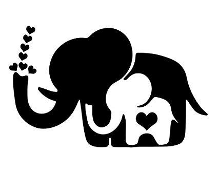 Mama & baby elephant black& white clipart svg library library Amazon.com: Mama & baby elephant Vinyl Decal Sticker (BLACK): Automotive svg library library