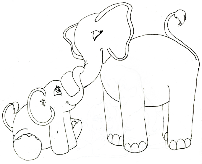 Mama & baby elephant black& white clipart vector freeuse Free Elephant Drawings Images, Download Free Clip Art, Free Clip Art ... vector freeuse
