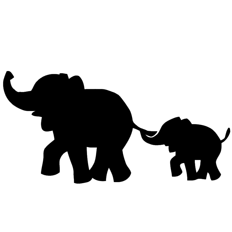 Mama & baby elephant black& white clipart png royalty free 21+ Best Happy Elephant Silhouette   Find wonderful clipart ... png royalty free