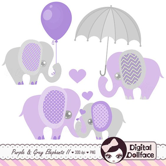 Mama baby elephant clipart clip free stock Purple and Grey Baby Shower Elephants Clipart by DigitalDollFace ... clip free stock