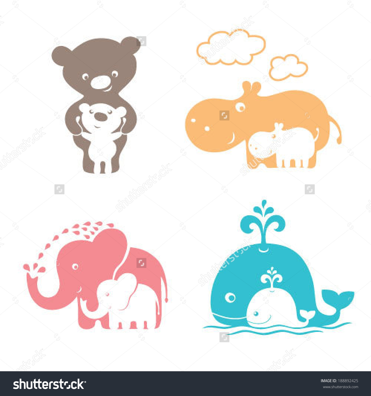 Mama baby elephant clipart graphic black and white Cute Animals Family Mom Bear Baby Stock Vector 188892425 ... graphic black and white