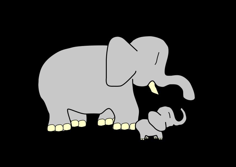 Mama baby elephant clipart freeuse Elephant clipart white mother baby love - ClipartFox freeuse