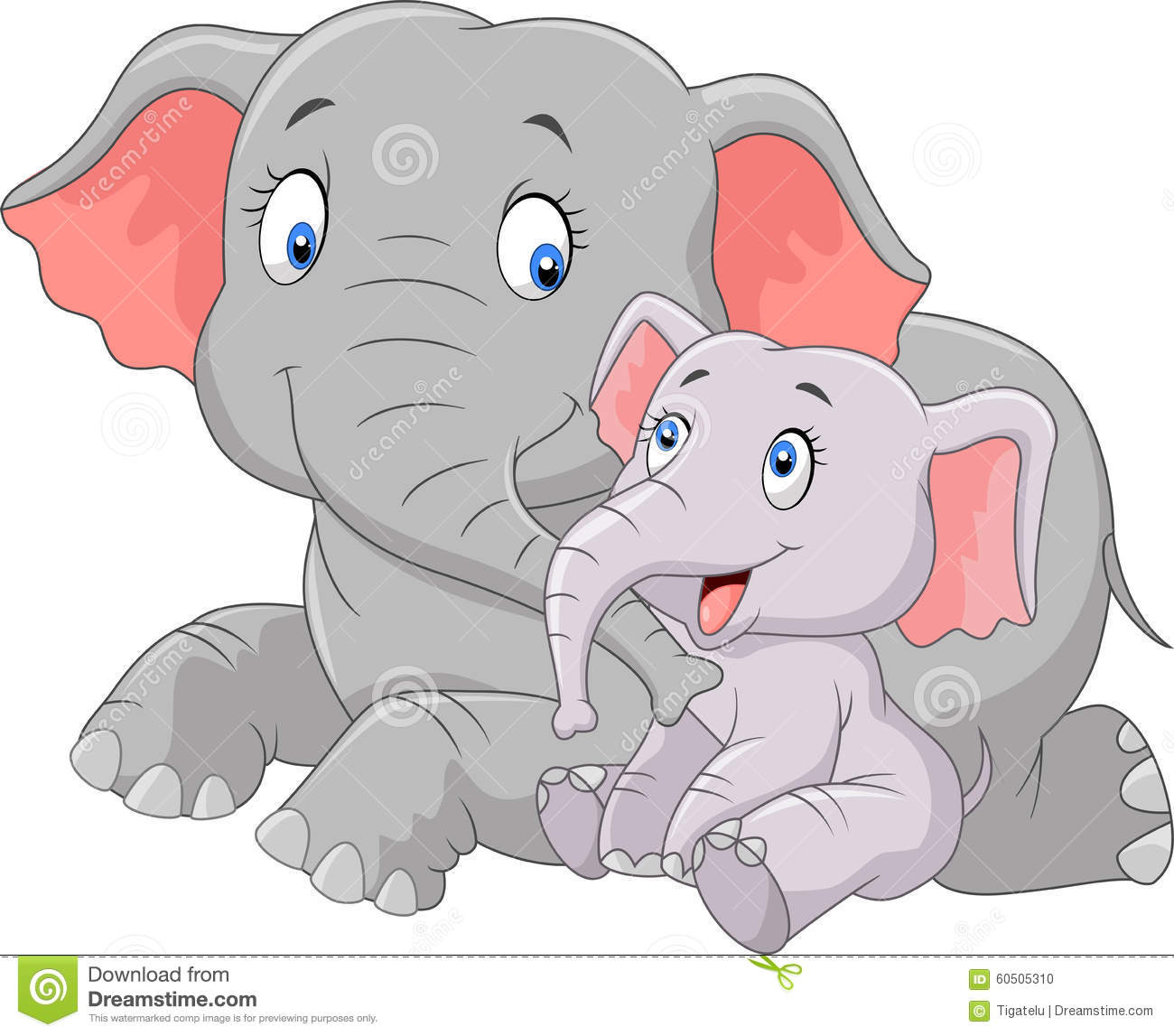 Mama baby elephant clipart svg free Cartoon Mother And Baby Elephant Stock Vector - Image: 45744014 svg free