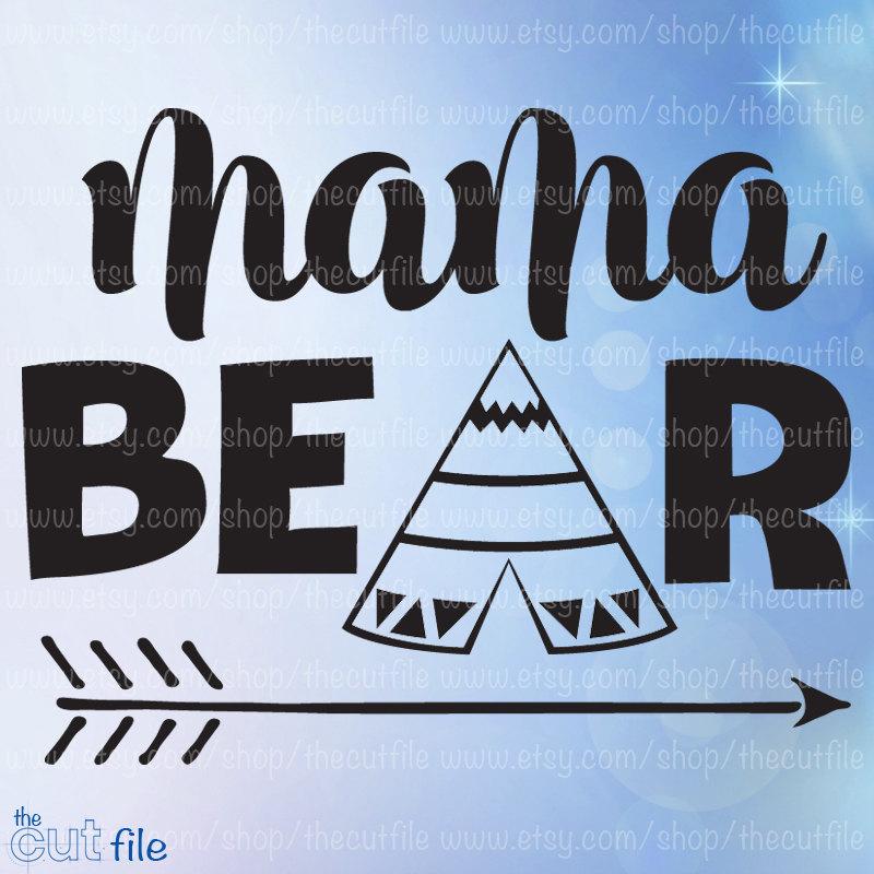 Mama bear clip art vector black and white library Mama Bear svg tepee and arrow design dxf eps jpeg clip art vector black and white library