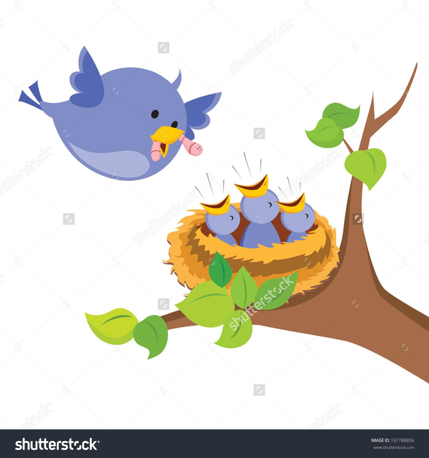 Mama bird clip art clip freeuse stock Mother Bird Love Mother Bird Feeds Stock Vector 197788856 ... clip freeuse stock