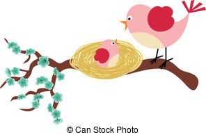 Mama bird clip art image library library Clipart Vector of Mother bird feeding her young with a worm with ... image library library