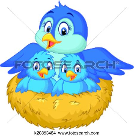 Mama bird clip art picture transparent library Clipart of Cartoon Mother bird with her two ba k20853484 - Search ... picture transparent library