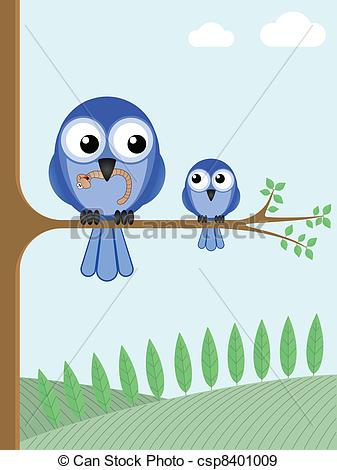 Mama bird clip art jpg freeuse download EPS Vectors of Mother bird feeding her young chick with a worm ... jpg freeuse download