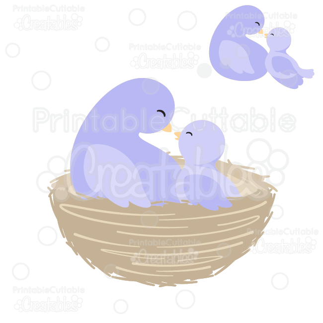 Mama bird clip art clipart black and white download Mama & Baby Bird in Nest SVG Cut Files & Clipart clipart black and white download