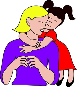 Mama clip art clip art black and white download Clipart of mama giving girl hugs - ClipartFest clip art black and white download