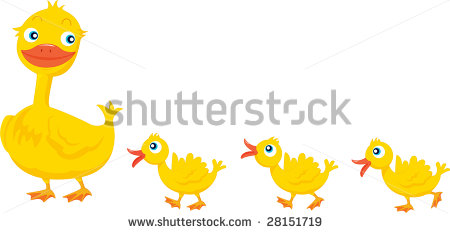 Mama duck clipart svg black and white library Illustration Mother Duck Three Ducklings Stock Illustration ... svg black and white library